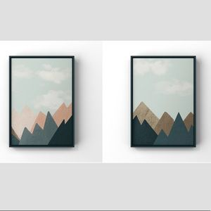 Set of two mountains abstract graphic art print